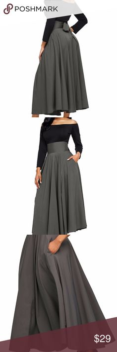 Gray retro high waisted skirt Gray retro skirt with pockets Skirts