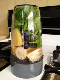 Immune Booster recipe by Nutribullet. Spinach, orange, banana, pineapple, blueberries and water. Tastes great!