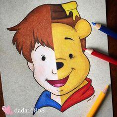 Artista fusiona a personajes de Disney, el resultado es hermoso Cartoon Drawings, Disney Art Drawings, Disney Drawings, Art Drawings, Drawings, Art, Cute Disney Drawings, Winnie The Pooh Drawing, Cute Drawings