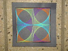 String Art --- a favorite with my 7th grade students.  Materials: 6x6 posterboard, thread, sewing needles, tape, patterns, etc.