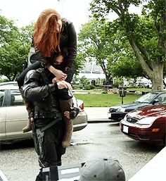 LOL... Poor Sebastian had her on his shoulders for like an entire day of shooting