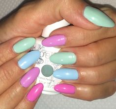 Spring 2014 nails/ Almond nails/  Pastel colors/  Mint Blue Lilac Pink Nails Gelish Summer Nail Ideas