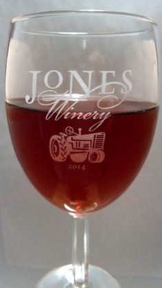 We happily unveil our 2014 Wine Tasting Glass design featuring a tractor, and we… Wine Tasting Glasses, Winery Logo, Wine Stand, Bottles For Sale, Tasting Room, Fine Wine, Glass Design, Connecticut, Tractor