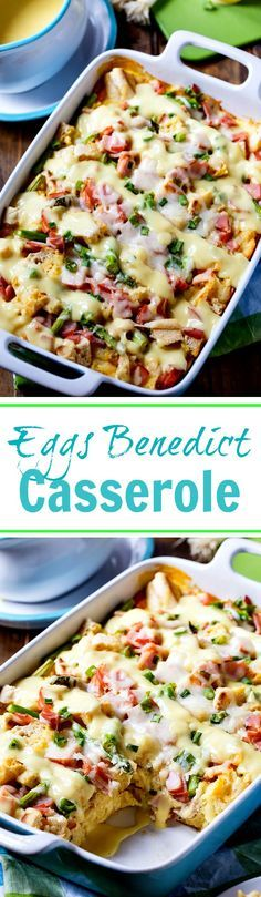 Eggs Benedict Casserole is an easy to make savory bread pudding with all the flavor of Eggs Benedict. Who doesn't love Eggs Benedict? It always feels like a tre Breakfast Casserole Easy, Bacon Breakfast, Breakfast For Dinner, Breakfast Dishes, Breakfast Time, Best Breakfast, Breakfast Recipes, Overnight Breakfast, Dinner Dishes
