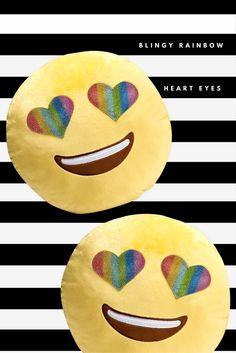 Blingy Heart Eyes Emoji Plush Pillow. Super shiny rainbow eyes.