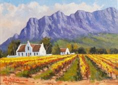 Oil Painting - Cape Dutch Farmhouse in the Mountains by Willie Strydom