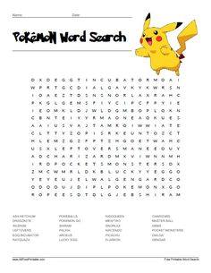Pokemon Word Search Printable That are Eloquent Pokemon Go, Pokemon Names, Pokemon Craft, Pokemon Party, Pokemon Printables, Printable Math Worksheets, Free Printable, Find A Word Printable, School Worksheets