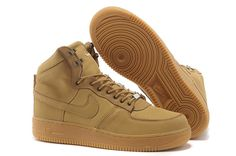 Heren nike air force 1 high top schoenen camel suede