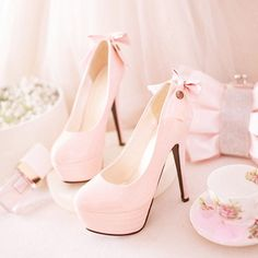 Love these heels pastel pink is favorite color!!