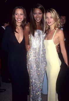 Christy Turlington, Naomi Campbell et Kate Moss en 1995. (Kevin Mazur pour Getty)