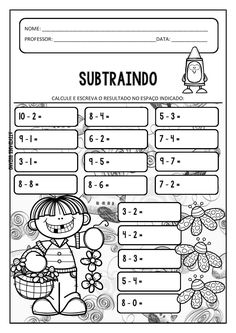 Learning Portuguese for Business Kids Class, Math For Kids, Fun Math, Math Games, Math Activities, Games For Kids, Addition Worksheets, Subtraction Worksheets, Math Addition