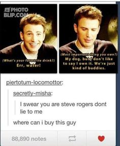 i knew it!  Chris evans is really steve rogers. I love this man.