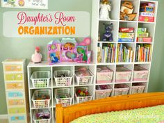 Daughter's Room Organization Part 2 is part of Organization Bedroom Toys - reevaluation of her toy situation, and her shelves have started looking like this Yikesaroo! We desperately needed to go through all her toys and books to reaccess what she still … Bedroom Toys, Girls Bedroom, Bedroom Ideas, Bedroom Designs, Bedrooms, Bedroom Decor, Home Organization Hacks, Organizing Ideas, Girls Room Organization
