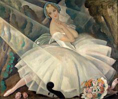 Gerda Wegener, Solodanserinden Ulla Poulsen i balletten Chopiniana, Paris, 1927.