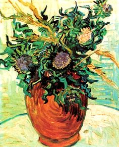Vincent Van Gogh. Still Life with Thistles (1890).