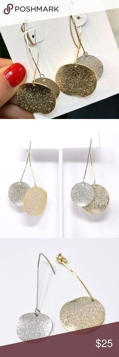 "Original Design Two Tone Sanded Discs Ear Jackets Drop: approx. 7cm (2.76"").  BRAND NEW Jewelry Earrings"