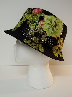 Black Hat With Custom Fabric floral Appliques and by paulagsell, $36.00