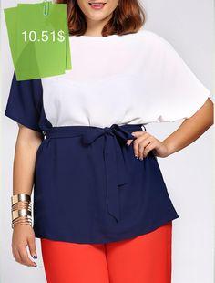 Stylish Short Sleeve Color Block Waist Tied Plus Size Blouse For Women