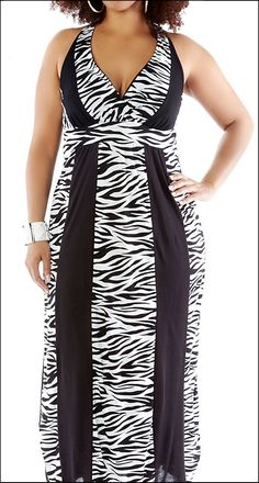 Black and white plus-size striped halter maxi dress.
