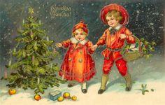 Joulukortti vuodelta 1926. #joulu #helsinki Vintage Christmas, Christmas Cards, Old Postcards, Costumes, Costume Ideas, Illustrators, Decoupage, Steampunk, Helsinki