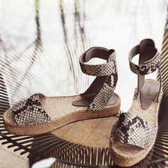 Shoes: platform espadrilles python snake snake print ankle strap flats animal print