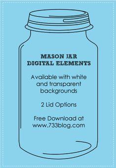FREE Mason Jars {Digital Element} by www.733blog.com