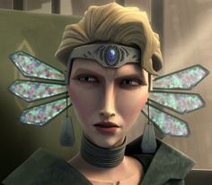 Satine Kryze. This is probably my least favorite of her outfits. No offence, but I think it looks like a freak six-winged dragonfly is sitting on the back of her head with tea bags hanging from it! :)