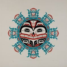 The Frog People Fleeing from the Black Bear (1978) by Don Yeomans, Haida artist (DY1978-02)