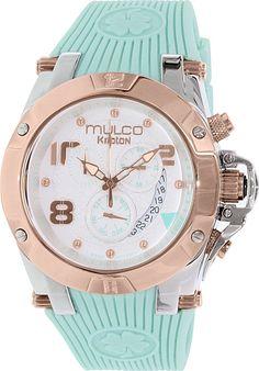 Mulco Women's Kripton MW5-2029-423 Teal Rubber Swiss Chronograph Watch #Mulco #DressWatches