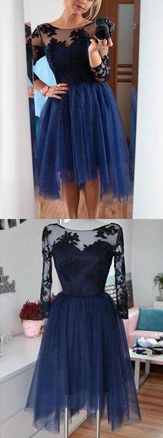 Generous Bateau 3/4 Sleeves Knee-Length Navy Blue Homecoming Dress with Black… …