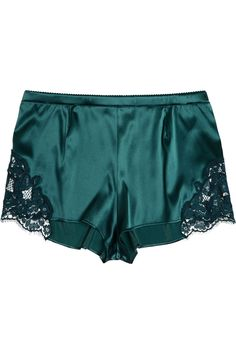 Dolce & Gabbana | Lace-trimmed stretch-silk satin shorts | NET-A-PORTER.COM