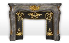 Comtesse de Vintimille - Superb custom made marble fireplace of Louis XV style with gilded bronze ornaments. Indoor Fireplaces, Marble Fireplaces, Art Deco Fireplace, Fireplace Mantels, Design Concepts, Design Elements, Antique Mantel, Wood Stoves, Bronze Sculpture