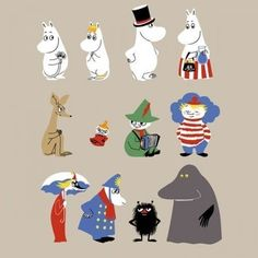 The main characters include Moomintroll, his parents, Moominmamma and Moominpappa, Snufkin, Little My, and the terrifying Groke.