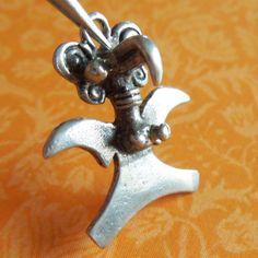 Vintage Ancient Bird Goddess Sterling Silver Charm