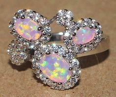 pink fire opal Cz ring Gemstone silver jewelry Sz 7.5 http://livewithbeauty.webstoreplace.com