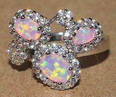 pink fire opal Cz ring Gemstone silver jewelry Sz 7.5 http://livewithbeauty.webstoreplace.com