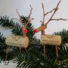 Here are some little twig and cork reindeer I made that would be wonderful ornaments in a holiday centerpiece or wreath. Super easy, fun, inexpensive and made from next to nothing! See more pictures and directions on my blog post at :  http://ourfairfieldhomeandgarden.com/enjoy-a...