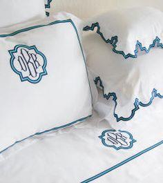 Monogrammed bedding, bed linens, monogrammed sheets, monogrammed coverlets, monogrammed duvet covers, monogrammed shams