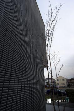 黒い外壁の前にシンボルツリーのコハウチワカエデ