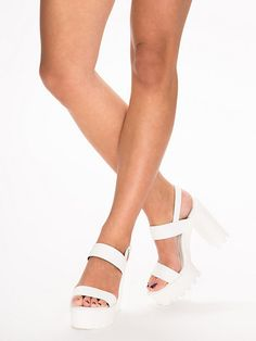 Chunky High Heel Sandal - Nly Shoes - White - Everyday Shoes ...