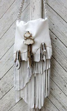 boho white leather fringe purse