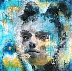"Mixed media art, 6"" x 6"" on canvas, by Kelly Thiel. Image transfer, acrylic, portrait, birds, Kelly Thiel Studio, mixed media painting"