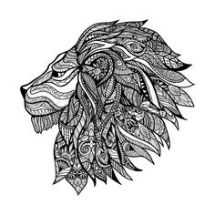 Hand drawn decorative lion head with floral ornament vector illustration Stock Vector