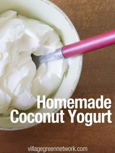 Homemade Coconut Yogurt Recipe- Super easy and healthy. Great way to get your probiotics! Dairy Free Recipes, Raw Food Recipes, Cooking Recipes, Gluten Free, Kefir, Kombucha, Homemade Coconut Yogurt, Coconut Milk Yogurt, Coconut Yogurt Recipe Paleo