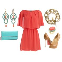 love this color combo...coral, turquoise, gold