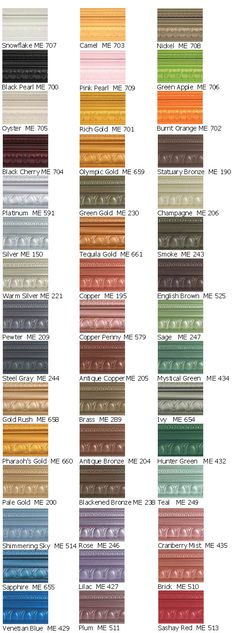 Modern Masters Metallic colors. Love nickel, champagne and green gold.  So many good colors for furniture revamps.