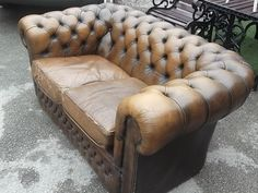 BROWN LEATHER VINTAGE CHESTERFIELD 2 SEATER SOFA SHABBY CHIC   eBay