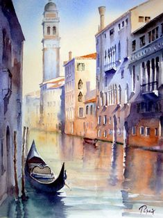 dreamer & hopeless romantic Art Watercolor, Watercolor Landscape Paintings, Watercolor Projects, Seascape Paintings, Venice Painting, Italy Painting, Boat Painting, Watercolor Architecture, Art Abstrait