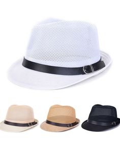 Men Women Hollow Out Mesh Top Hat Casual Braid Fedora Beach Sun Flax Panama  Jazz Hat 0f5dda901f5f