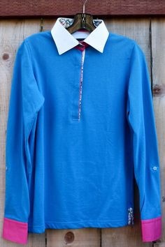 Maceoo Ladies Blue Long Sleeve Polo 100% Cotton 40 (10)  Casual and stylish!!!    #Maceoo #PoloShirt #Casual
